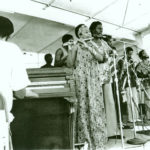 The Arkestra at the Watts Towers Jazz Festival, early 1980s. L to R: Horace, piano; Adele Sebastian, flute; Jujigwa, vocals; Herbert Callies, alto clarinet; Fundi Legohn, French horn (c Mark Weber)